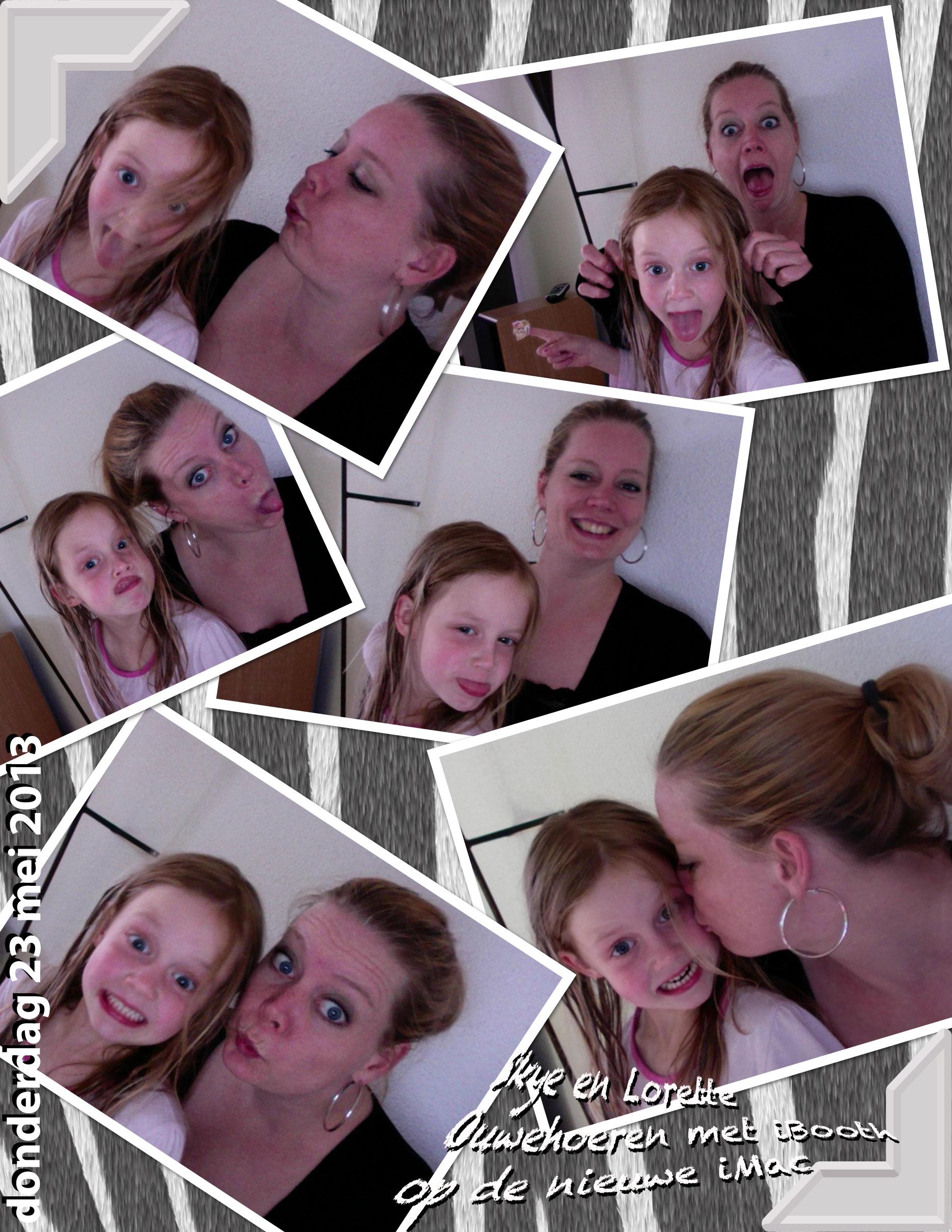 Skye en Lorette spelen met Photo Booth